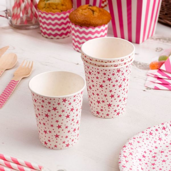 Carnival Pink Paper Cups - Stars (8)